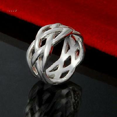 New 925 Sterling Silver Filled 10mm Celtic Knot Ring