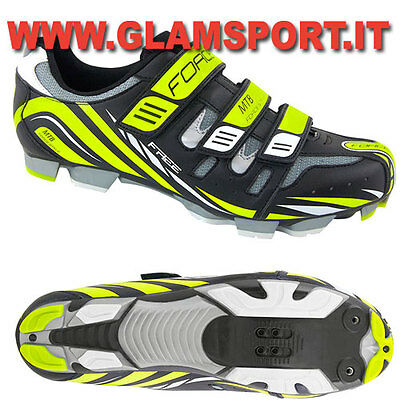 FORCE SCARPE MTB MOUNTAIN BIKE FREE BICI FLUO SPD  CON CHIUSURA 3 STRAP