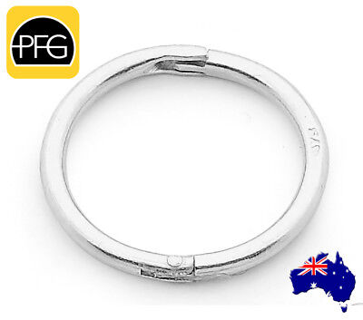 1pc 925 Sterling Silver Solid Seamless Hinged Hoop Piercing Nose Ear Ring 10mm