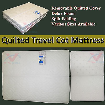 New Deluxe Quilted Cot Mattress Junior Baby Cotbed Travel Folding Split Mattress