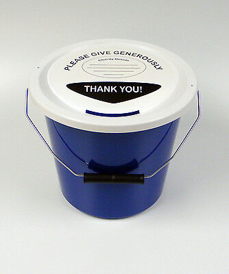 Charity Fundraising Collecting Bucket with Lid, Label and Ties - Blue