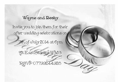 50 Personalised Wedding invitations - EVENING RECEPTION INVITES