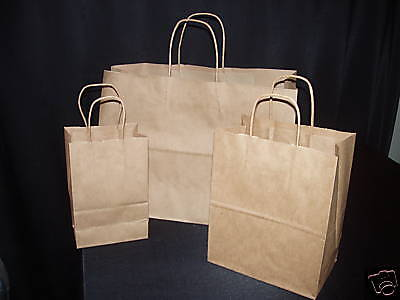 MIXED LOT 150 BROWN HANDLED PAPER RETAIL GIFT SHOPPING BAGS 3 DIFFERENT SIZES