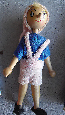"""Vintage 1950s Jointed Wood Pinocchio Character Doll 7"""" Tall"""
