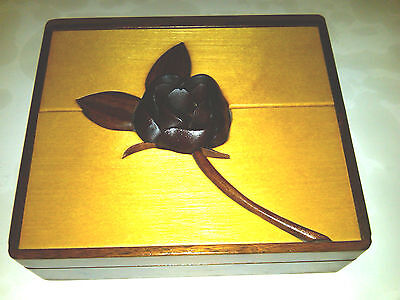 Rose Inlay Black Walnut Solid Wood Jewelry/Keepsake Box