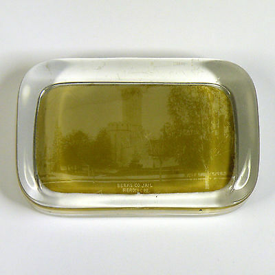 Old glass paperweight - Berks County Jail / Prison - Reading, Pennsylvania