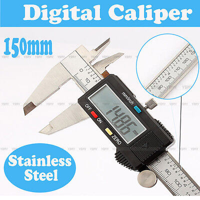 """150mm / 6"""" inch Electronic Stainless Steel Digital Vernier Calipers With LCD -UK"""
