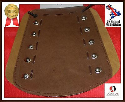 Archery arm guard leather lacing fittings brown & mustard Coppers Hook