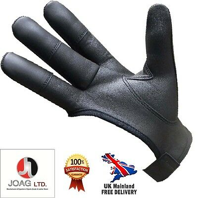 Archers Leather Shooting 4 Finger Gloves Choc Brown & Black- Bow Hunting Gloves