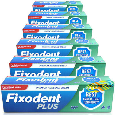 6x Fixodent Plus Dual Protection Antibacterial Denture Adhesive Cream 40g