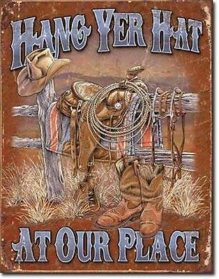 Hang Yer Hat Western Welcome Tin Sign Retro Home Bar Saloon Wall Decor USA 16""