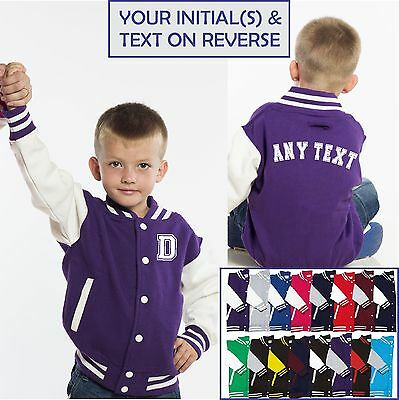 AWDis Kids PERSONALISED Varsity Jacket College Custom Printed Children American