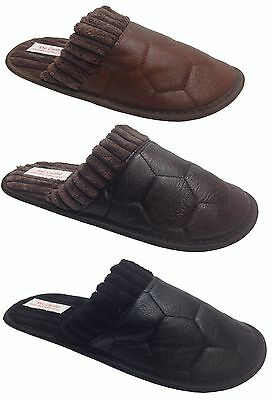 Mens Classic Leather Look Warm Comfy Slip On Mule Slippers Black Tan Brown New