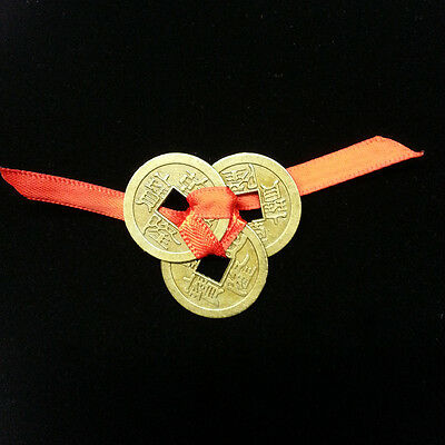 Lucky 3 Chinese Coins Tied With Red Ribbon: Good Luck, Wealth, Feng Shui