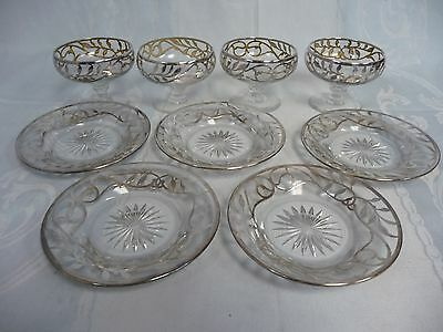 FOUR VINTAGE HEISEY SILVER OVERLAY SHERBERT GLASSES w/FIVE UNDERPLATES