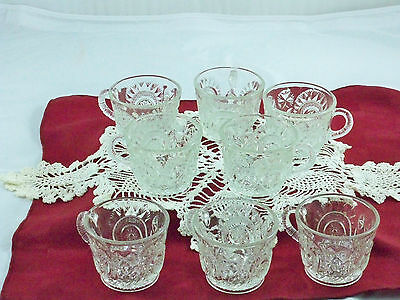 L E Smith Vintage Lot of 8 Slewed Horseshoe Punch Bowl Cups