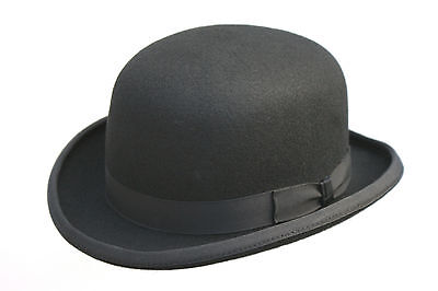 High Quality BLACK Hard Top 100% Wool Bowler Hat - Satin Lined  - Sizes S to XL