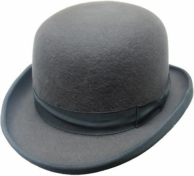 High Quality GREY Hard Top 100% Wool Bowler Hat - Satin Lined  - Sizes S to XL