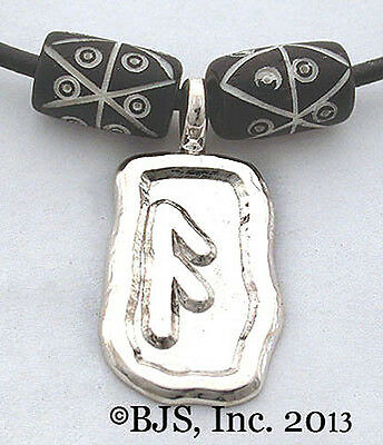 Silver Ansuz Rune Necklace, Devine Power & Luck Amulet, Norse Rune Jewelry, New