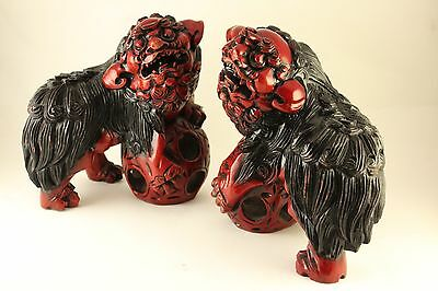 "Asian Chinese Lacquer Carved Wood 7.5"" Figural Foo Dogs w/ Puzzle Ball Pair Set"