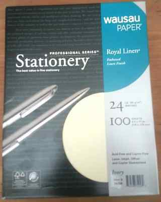 Royal Linen Ivory Stationery Resume Paper - 8.5 x 11-24# 100 Sheet Package