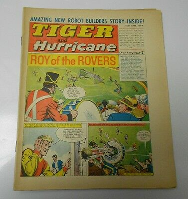 1967 TIGER AND HURRICANE UK Weekly June 10 ROY of the ROVERS Johnny Cougar FVF