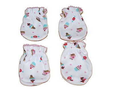 4 Pairs Newborn Baby/infant Anti-scratch Cotton Mittens Gloves---Little Cupcake