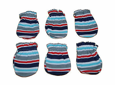 6 Pairs Newborn Baby/infant Anti-scratch Cotton Mittens Gloves---Stria