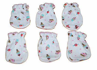 6 Pairs Newborn Baby/infant Anti-scratch Cotton Mittens Gloves---Little Cupcake