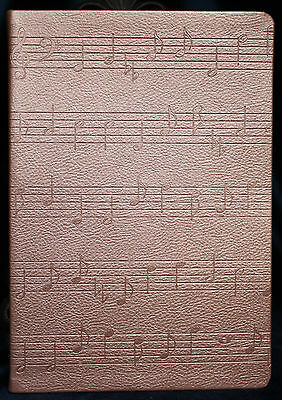 BLANK JOURNAL DIARY MUSICAL NOTES SCALES  Embossed Mauve Leather like