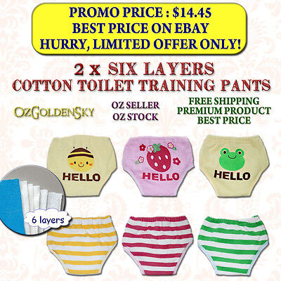 BRAND NEW Washable 2 x SIX Layers Toilet Potty Training Pants Nappy For 10-16 kg