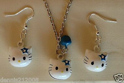 Stunning enamel white 3D Hello kitty cat bell Earrings/necklace silver tone C8
