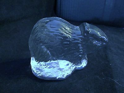 """Vintage Viking Glass Co. """" Clear Glass Woodchuck"""" Bookend/Paperweight"""