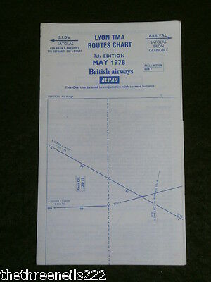 AVIATION CHART - LYON TMA ROUTES - MAY 1978 - 34x38cm
