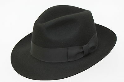 100% Wool Felt Fedora Trilby Hand Made Wider Brim Gents Hat With Band 9 Colours