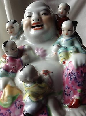 Chinese Porcelain Handpainted Lucky Smiling Buddha With Happy Children Flowers