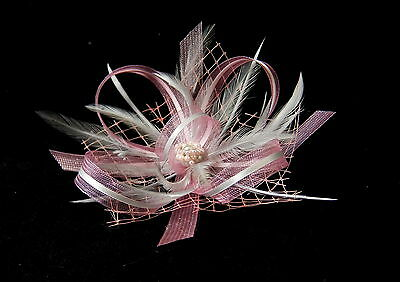 Pink & grey fascinator with bead cluster on comb, Alice band or crocodile clip.