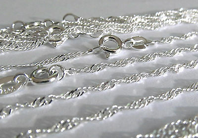WHOLESALE 10 PCS Twisted Curb Chain 22 Inch Sterling Silver Plated Necklace Lot