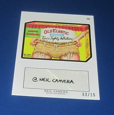WACKY PACKAGES ANS11 NEIL CAMERA AUTOGRAPH #36 OLD ELASTIC #02/15     NM/MT