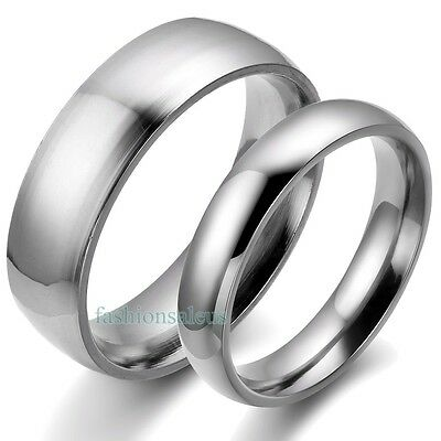 Solid Stainless Steel Plain Band Men's&Women's Rings for Couple Wedding Lovers