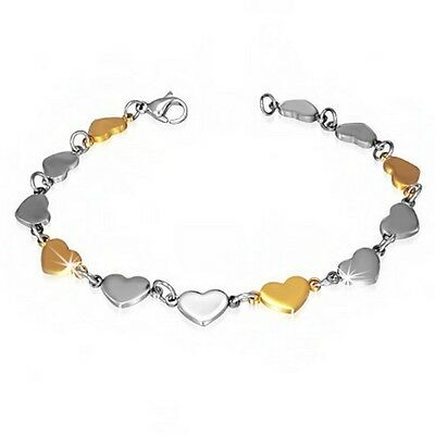 Stainless Steel Silver Yellow Gold Two-Tone Love Heart Charm Womens Bracelet