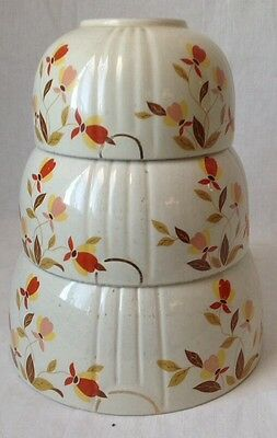 Vintage Set of 3 Hall Superior Autumn Leaf Jewel Nesting Mixing Bowls AS IS