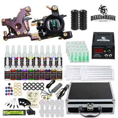 Dragonhawk Tattoo Kit 2 Machines Guns Color Ink Power supply Needles Grip Tips