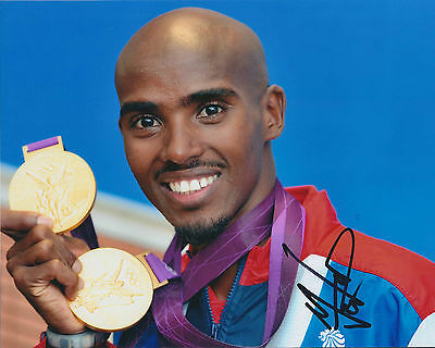 Mo FARAH Autograph 10x8 Signed Photo AFTAL COA World Record Holder Gold Medal