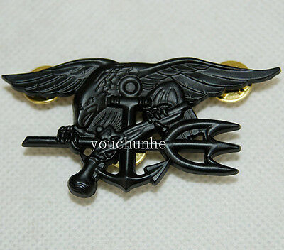 Us Navy Seal Eagle Anchor Trident Metal Badge Insignia Black -32478