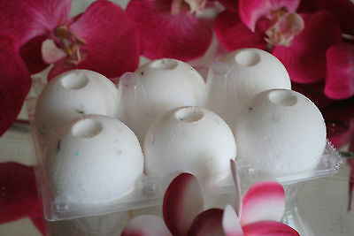 WHITE CHOCOLATE & RASPBERRY Aromatherapy Bath Bombs with Coconut Oil PACK OF 6
