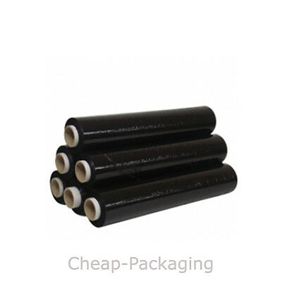 6 12 24 36 ROLLS OF BLACK STRONG PALLET STRETCH SHRINK WRAP 25mu (500mm x 250m)