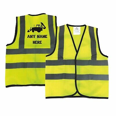 Personalised Baby Toddler Yellow High Visibility Safety Vest Kids Waistcoat