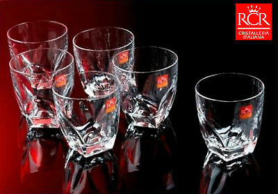 Set of 6 RCR Crystal DIAMANTE 330ml Hiball Tumblers Glasses Italy High Ball Lead