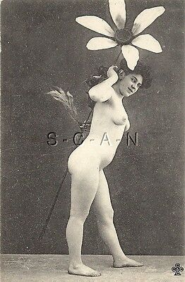 Original Vintage French Nude PC- Photo Image- 1906-1917- Butt- Holds Huge Flower
